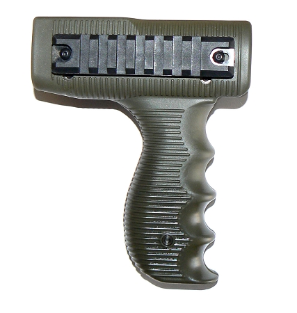 UZI VERTICAL OD GREEN HANDGUARD WITH RAILS MOUNT - TACTICAL FOREGRIP