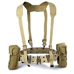 Israeli (Idf) Khaki Canvas Harness Webbing Set for SMG  70s ERA